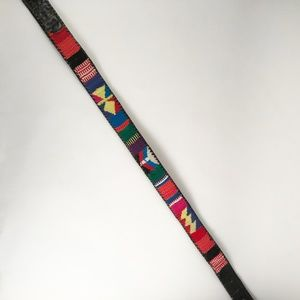 Vintage 90's Black belt with Colorful Pattern